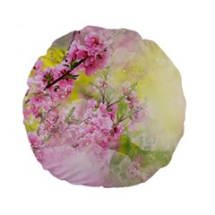 Flowers Pink Art Abstract Nature Standard 15  Premium Round Cushions by Celenk