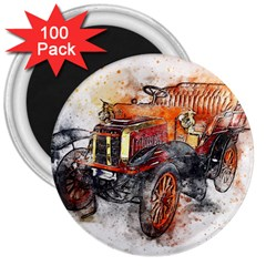 Car Old Car Art Abstract 3  Magnets (100 Pack) by Celenk