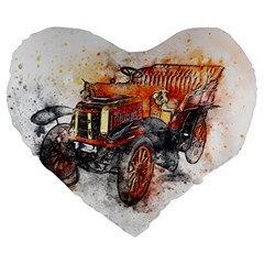 Car Old Car Art Abstract Large 19  Premium Flano Heart Shape Cushions by Celenk