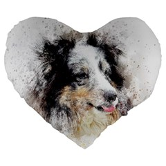 Dog Shetland Pet Art Abstract Large 19  Premium Flano Heart Shape Cushions by Celenk