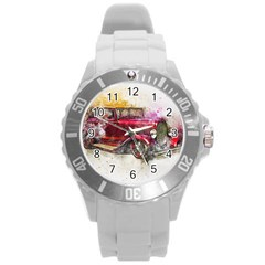 Car Old Car Art Abstract Round Plastic Sport Watch (l) by Celenk