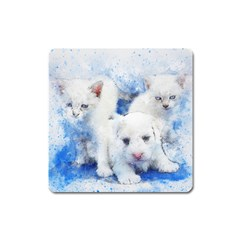 Dog Cats Pet Art Abstract Square Magnet by Celenk