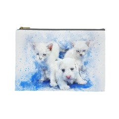 Dog Cats Pet Art Abstract Cosmetic Bag (large)  by Celenk
