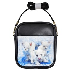 Dog Cats Pet Art Abstract Girls Sling Bags by Celenk