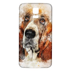 Dog Basset Pet Art Abstract Samsung Galaxy S5 Back Case (white) by Celenk