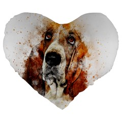 Dog Basset Pet Art Abstract Large 19  Premium Flano Heart Shape Cushions by Celenk
