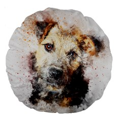 Dog Animal Pet Art Abstract Large 18  Premium Flano Round Cushions by Celenk