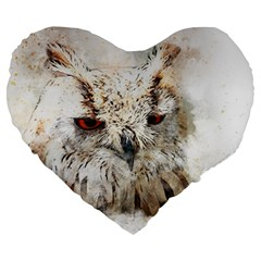 Bird Owl Animal Art Abstract Large 19  Premium Flano Heart Shape Cushions by Celenk