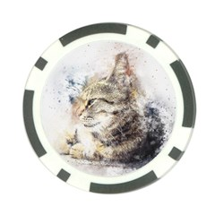 Cat Animal Art Abstract Watercolor Poker Chip Card Guard (10 Pack) by Celenk