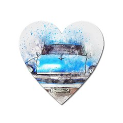 Car Old Car Art Abstract Heart Magnet by Celenk