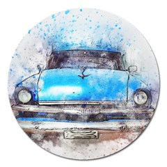 Car Old Car Art Abstract Magnet 5  (round) by Celenk