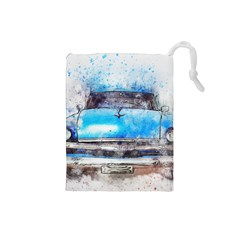 Car Old Car Art Abstract Drawstring Pouches (small)  by Celenk