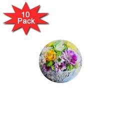 Flowers Vase Art Abstract Nature 1  Mini Buttons (10 Pack)  by Celenk