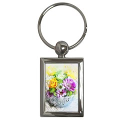 Flowers Vase Art Abstract Nature Key Chains (rectangle)  by Celenk