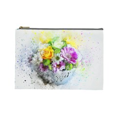 Flowers Vase Art Abstract Nature Cosmetic Bag (large)  by Celenk