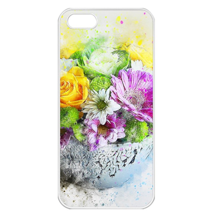 Flowers Vase Art Abstract Nature Apple iPhone 5 Seamless Case (White)