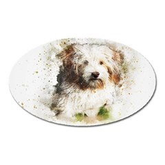 Dog Animal Pet Art Abstract Oval Magnet by Celenk