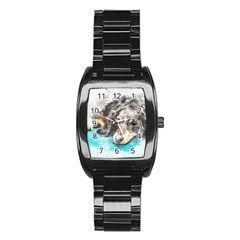 Dog Animal Art Abstract Watercolor Stainless Steel Barrel Watch