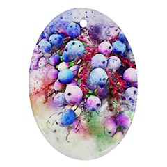 Berries Pink Blue Art Abstract Ornament (oval) by Celenk