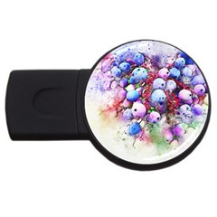 Berries Pink Blue Art Abstract Usb Flash Drive Round (2 Gb) by Celenk