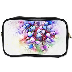 Berries Pink Blue Art Abstract Toiletries Bags by Celenk
