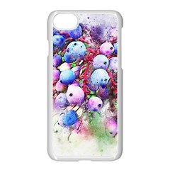 Berries Pink Blue Art Abstract Apple Iphone 7 Seamless Case (white) by Celenk