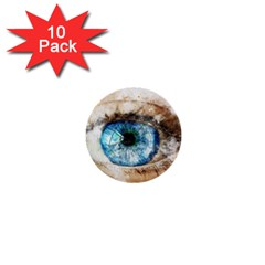 Eye Blue Girl Art Abstract 1  Mini Buttons (10 Pack)  by Celenk