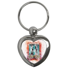 Window Flowers Nature Art Abstract Key Chains (heart)  by Celenk