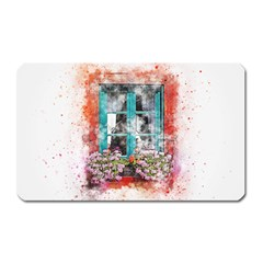 Window Flowers Nature Art Abstract Magnet (rectangular) by Celenk