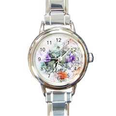 Flowers Bouquet Art Abstract Round Italian Charm Watch by Celenk