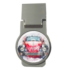 Red Car Old Car Art Abstract Money Clips (round)  by Celenk