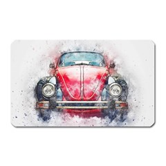 Red Car Old Car Art Abstract Magnet (rectangular) by Celenk