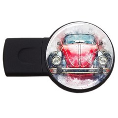 Red Car Old Car Art Abstract Usb Flash Drive Round (2 Gb) by Celenk