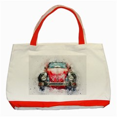 Red Car Old Car Art Abstract Classic Tote Bag (red) by Celenk