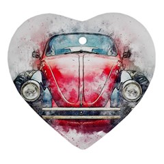 Red Car Old Car Art Abstract Heart Ornament (two Sides) by Celenk