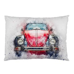 Red Car Old Car Art Abstract Pillow Case (two Sides) by Celenk