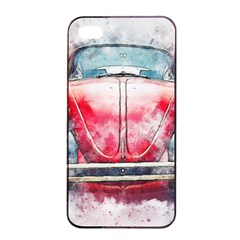 Red Car Old Car Art Abstract Apple Iphone 4/4s Seamless Case (black) by Celenk