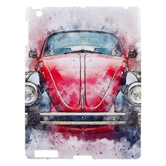 Red Car Old Car Art Abstract Apple Ipad 3/4 Hardshell Case by Celenk