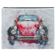 Red Car Old Car Art Abstract Cosmetic Bag (xxxl)  by Celenk