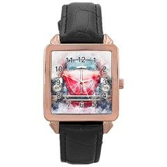 Red Car Old Car Art Abstract Rose Gold Leather Watch  by Celenk