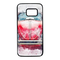 Red Car Old Car Art Abstract Samsung Galaxy S7 Black Seamless Case by Celenk