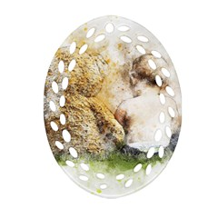 Bear Baby Sitting Art Abstract Oval Filigree Ornament (two Sides) by Celenk