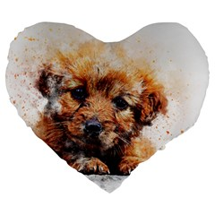 Dog Puppy Animal Art Abstract Large 19  Premium Flano Heart Shape Cushions by Celenk