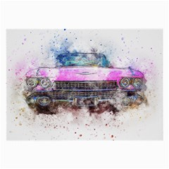 Pink Car Old Art Abstract Large Glasses Cloth by Celenk