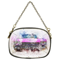 Pink Car Old Art Abstract Chain Purses (two Sides)  by Celenk