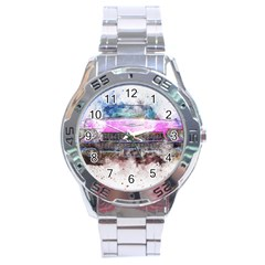 Pink Car Old Art Abstract Stainless Steel Analogue Watch by Celenk