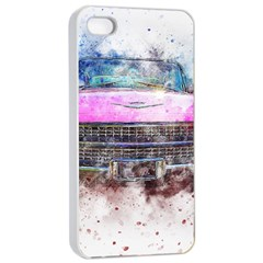 Pink Car Old Art Abstract Apple Iphone 4/4s Seamless Case (white) by Celenk