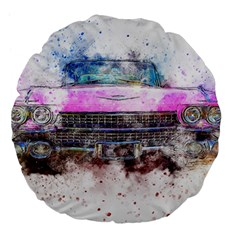 Pink Car Old Art Abstract Large 18  Premium Flano Round Cushions by Celenk