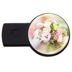 Flowers Bouquet Art Abstract Usb Flash Drive Round (4 Gb) by Celenk