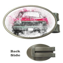Car Old Car Art Abstract Money Clips (oval)  by Celenk